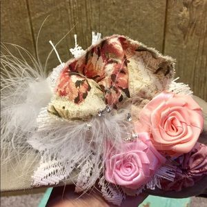 Accessories - Distressed Newsboy Cap with Flowers and Jewels.